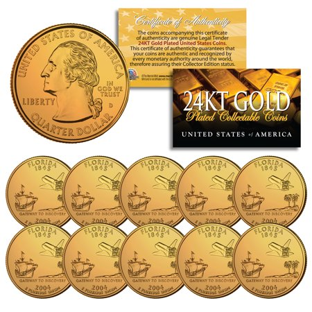 2004 Florida State Quarters U.S. Mint BU Coins 24K GOLD PLATED (LOT of (2004 Florida State Quarter)