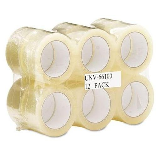 "UNIVERSAL OFFICE PRODUCTS 66100 Box Sealing Tape, 2"" X 110 Yards, 3"" Core, Clear, 12/pack"