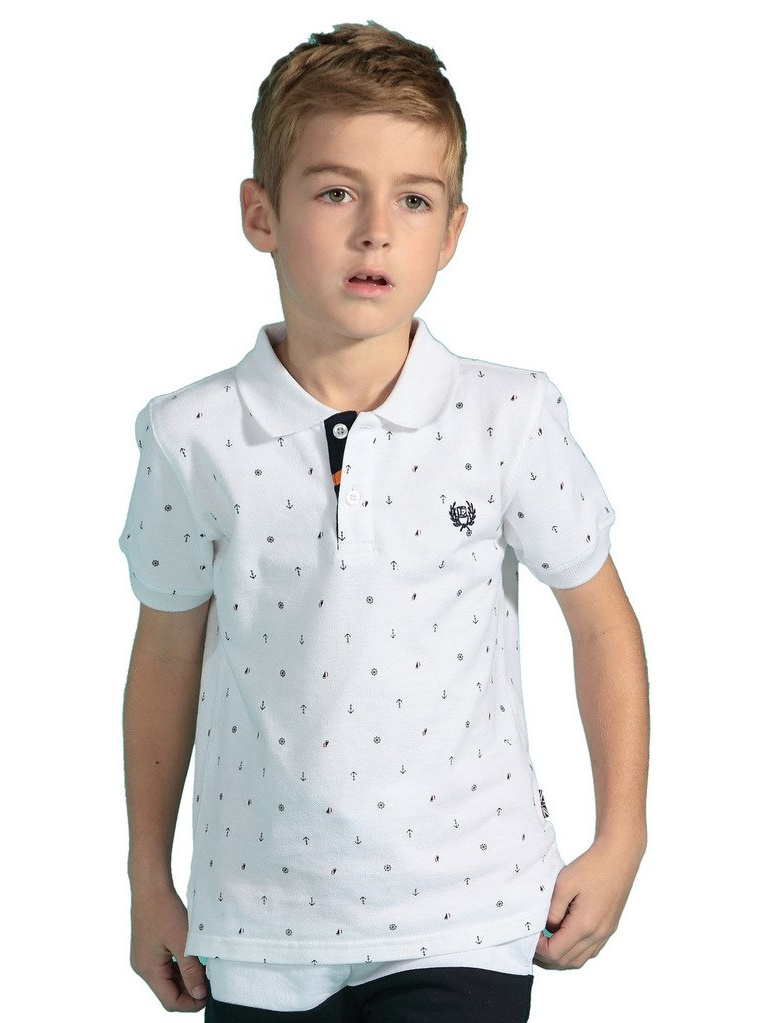 Leo&Lily Boys' Kids' Combed Pique Anchor Print Rugby Polo Shirts