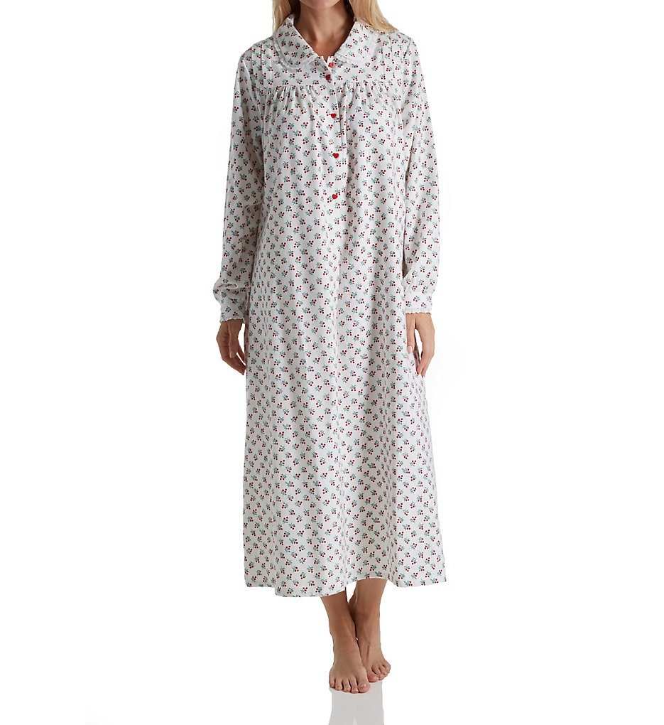 Lanz of Salzburg 5616828 Long Sleeve Flannel Gown with Pe...