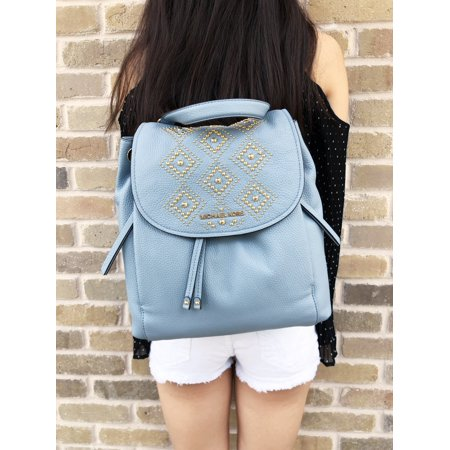 Michael Kors Riley Large Leather Backpack Pale Blue Gold Studded Drawstring Flap (Drawstring Backpack Leather)