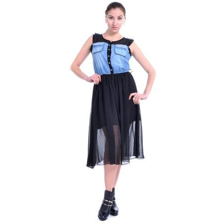 Chiffon Mix - S/M Fit Black Chiffon and Blue Denim Mix Fabric Prairie Style Dress