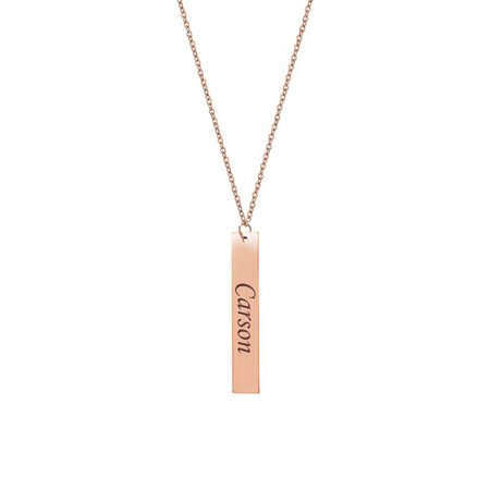 Custom Rose (Personalized Women's Stainless Steel Rose Gold Vertical Bar Custom Made Engravable Name Necklace Free Jewelry Gift Box Ships Next)