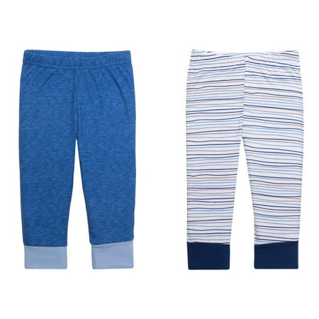 Little Star Organic Newborn Baby Boy Knit Pants, 2-pack