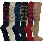 Womens Casual Knee High Socks Patterned Colors Fashion Socks( Argyles, 6 Pairs)