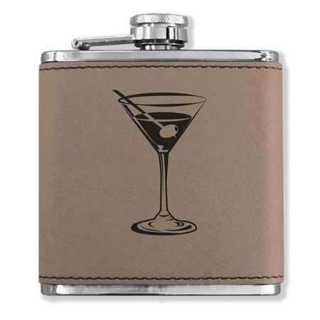 Faux Leather Flask - Martini Glass - Light Brown