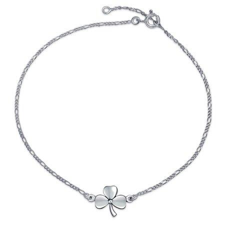 3 Leaf Clover Shamrock Flower Anklet Lucky Charm Anklet Link Ankle Bracelet For Women Sterling Silver 9 To 10 In ()