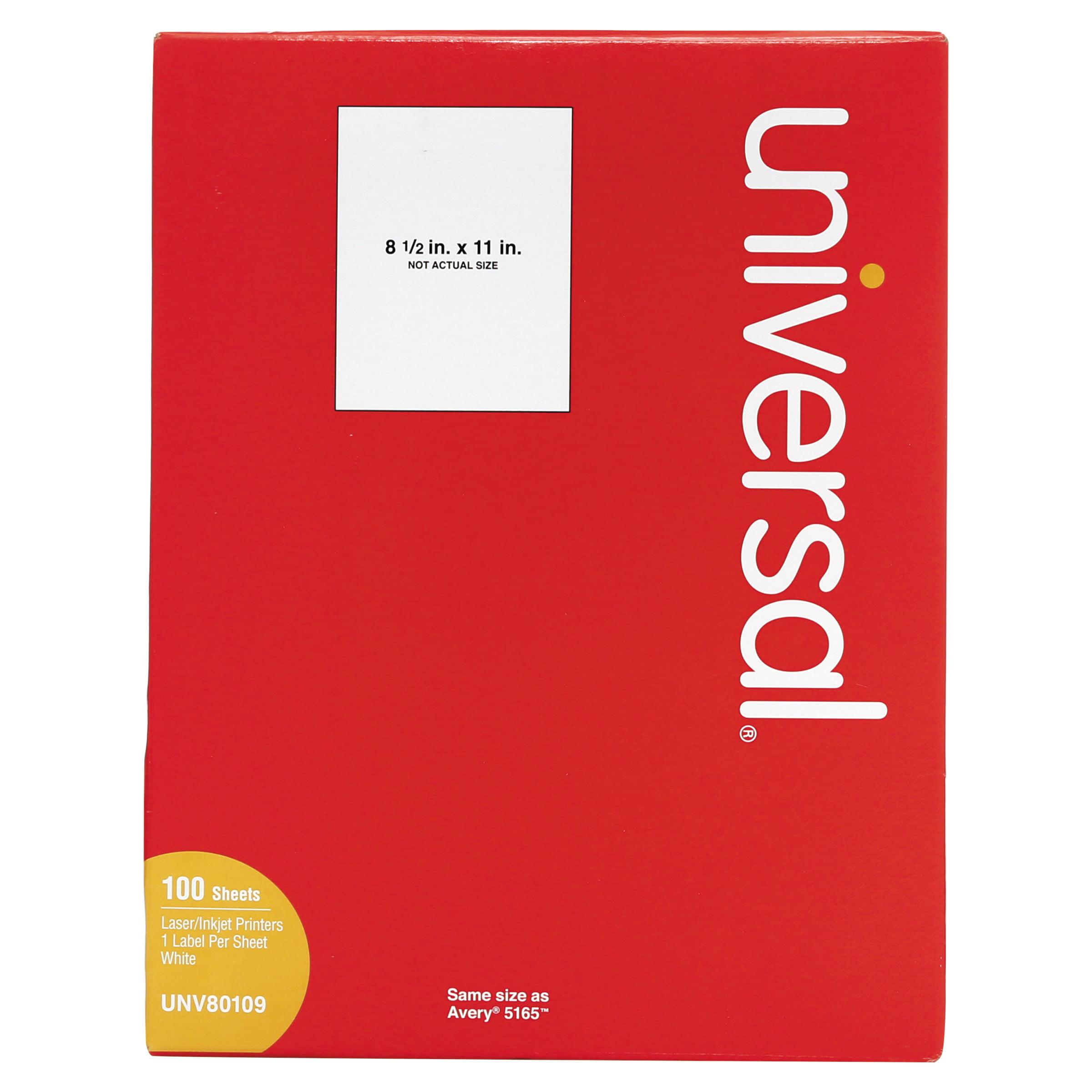 Universal Laser Printer Permanent Labels, 8 1/2 x 11, White, 100/Box -UNV80109