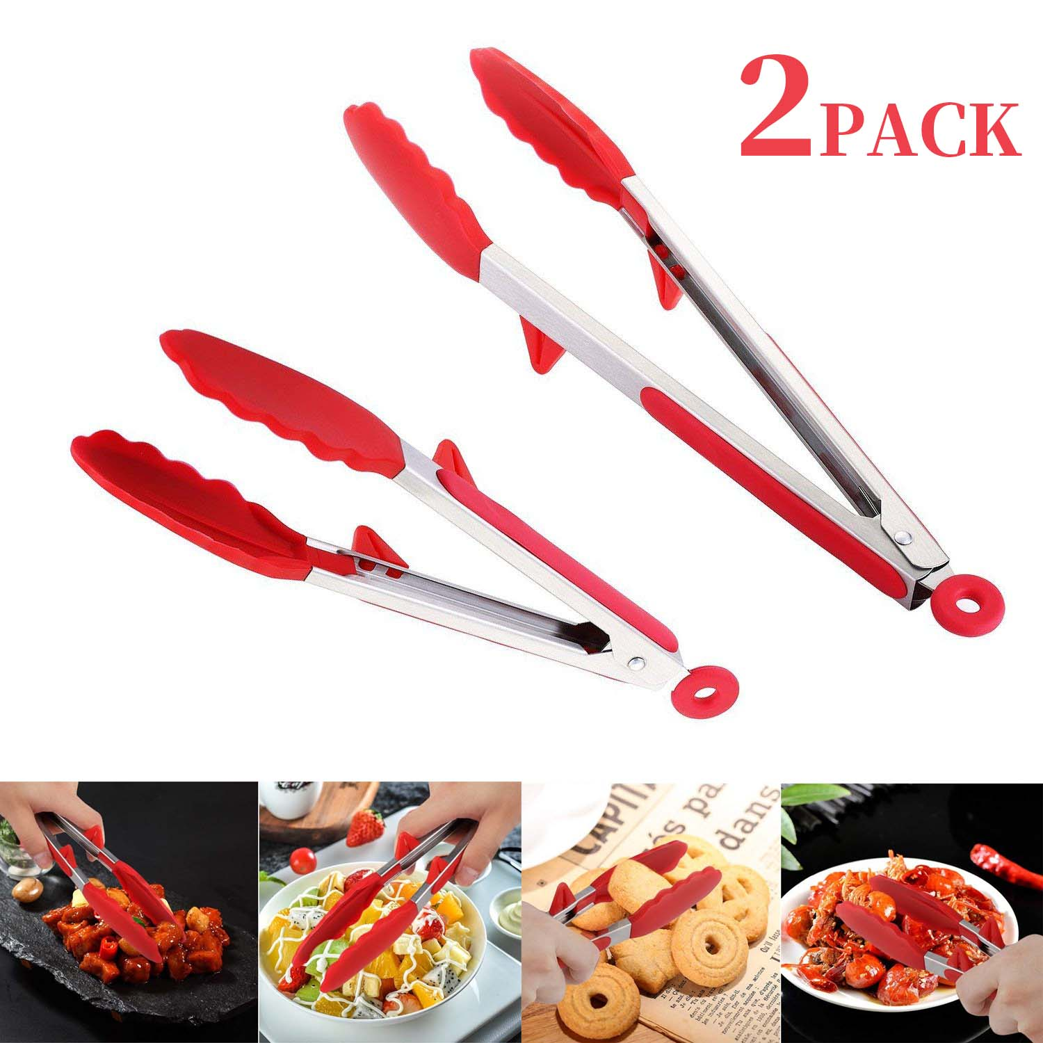 Kitchen Tongs with Silicone Tips, 2 Pack (9 & 12 Inch), Heavy Duty, Non-Stick Stainless Steel Silicone Tongs for Cooking