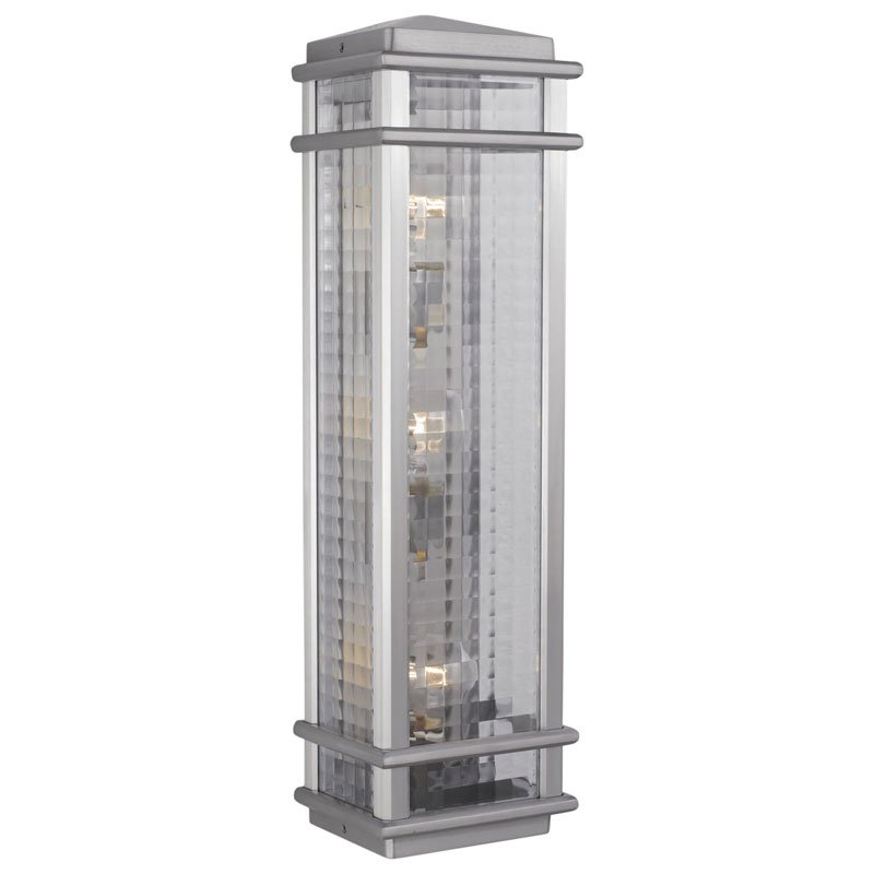Feiss Monterey Coast Outdoor Wall Lantern - 26H in. Brushed Aluminum