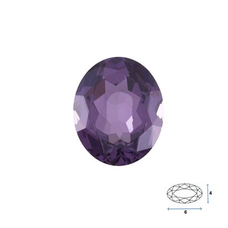 Oval Shape Imitation Amethyst Faceted Gemstone Sized 6x4 mm