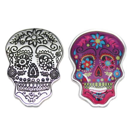Spooky Skull Charm: Pink and Purple Flowers - By Ganz for $<!---->