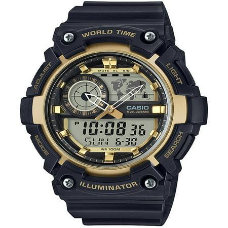 Casio Men's Analog-Digital World Time Watch, Black/Gold