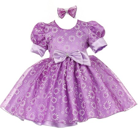 0758bd732b Shanil Inc. - Baby Girls Lilac Floral Puffed Sleeve Satin Bow Special  Occasion Dress 6M - Walmart.com