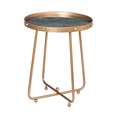 Organic Elements Brass Metal Modern Side Table with Green Glass Top ()