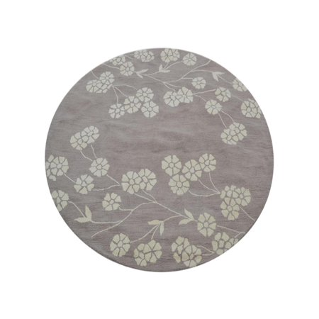 Hand Tufted Wool Round Area Rug Floral Beige White 6x6