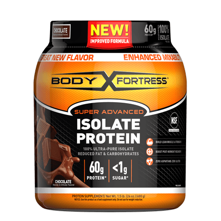 Body Fortress--Super Advanced Isolate Protein, Chocolate--Protein Powder Supplement-- Reduced Fat &, Carbohydrates,--1-1.5lb.
