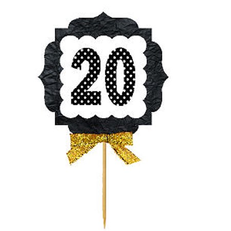 Anniversary Cupcake - 20th Birthday / Anniversary Gold Ribbon Hand Crafted Novelty Cupcake Decoration Toppers / Picks -12ct