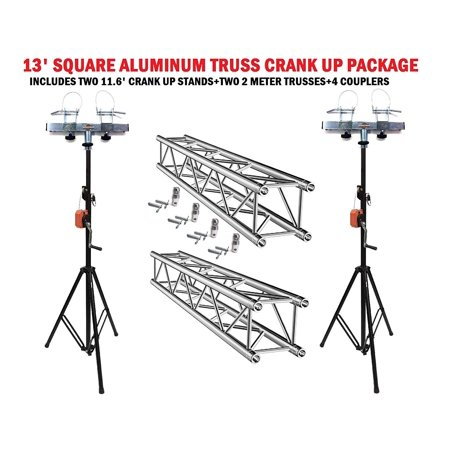Two 11.6' Crank Up Stands With Two 6.56' Square Aluminum Truss Segments (Truss Package)