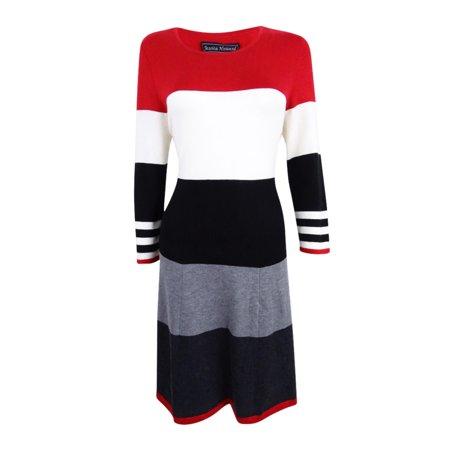 Jessica Howard Women's Striped Fit & Flare Sweater Dress (S,