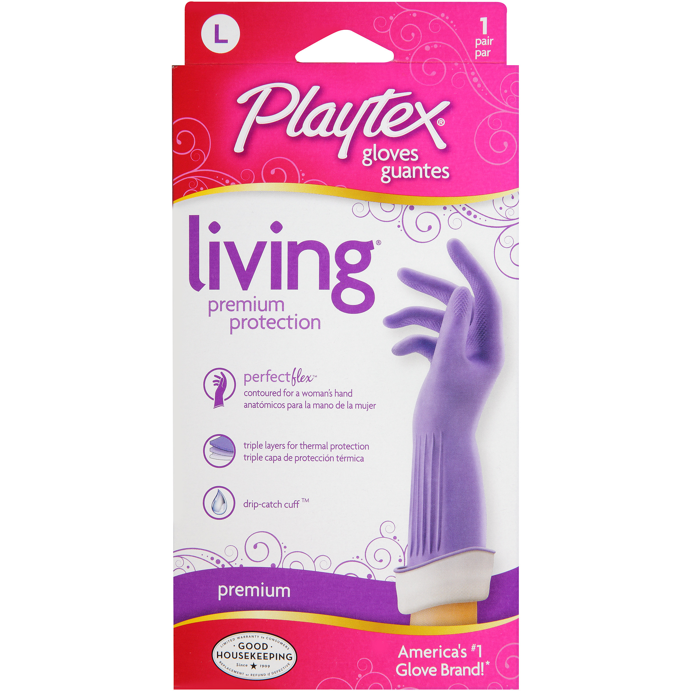 Playtex Living Reusable Gloves With Drip-Catch Cuff Large - 1 Pair