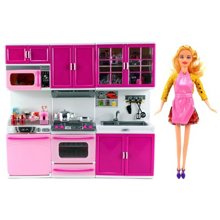 My Happy Kitchen Dishwasher Oven Sink Battery Operated Toy Doll Kitchen Playset w/ Doll, Lights, Sounds, Perfect for Use with 11-12