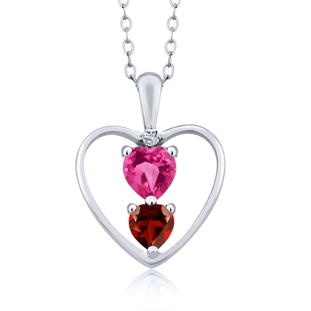 0.86 Ct Heart Shape Pink Mystic Topaz Red Garnet 14K White Gold Pendant by