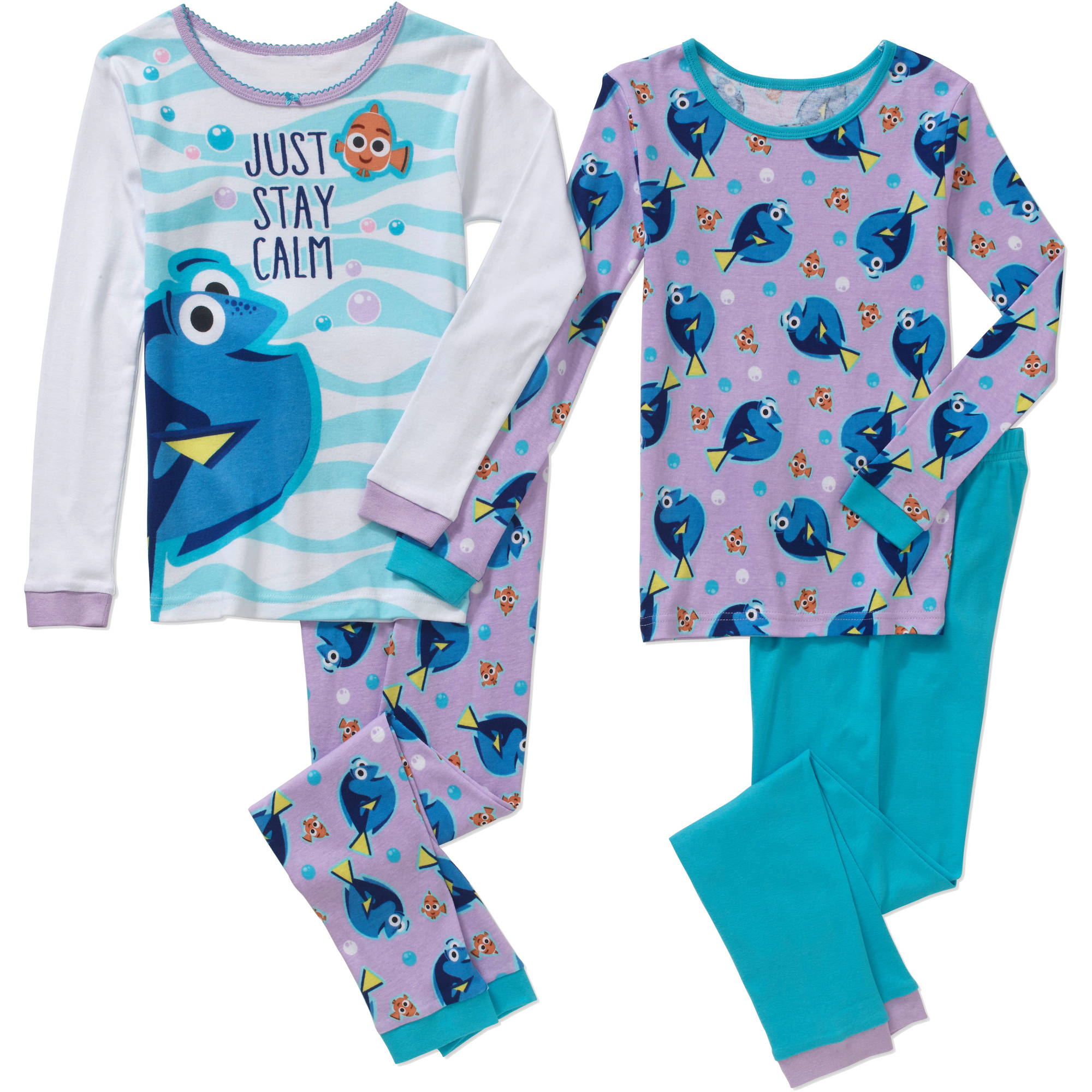 Finding Dory Girls' Licensed 4-Piece Cotton Pj