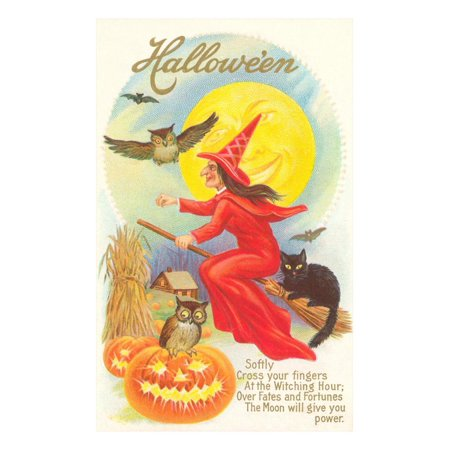 Halloween, Red Witch and Poem Print Wall Art](20 Line Halloween Poem)