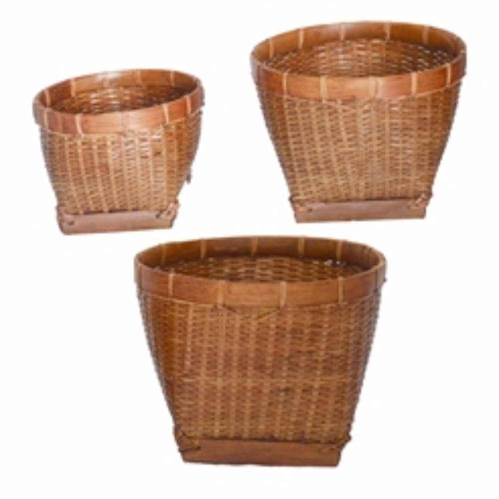 Wood & Rattan Storage Baskets, Set of 3, Brown