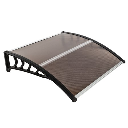 """Top Knobs 40""""x 40"""" Outdoor Door Window Awning Canopy Patio Cover Rain Snow Protection One-Piece Polycarbonate Hollow Sheet, Brown"""