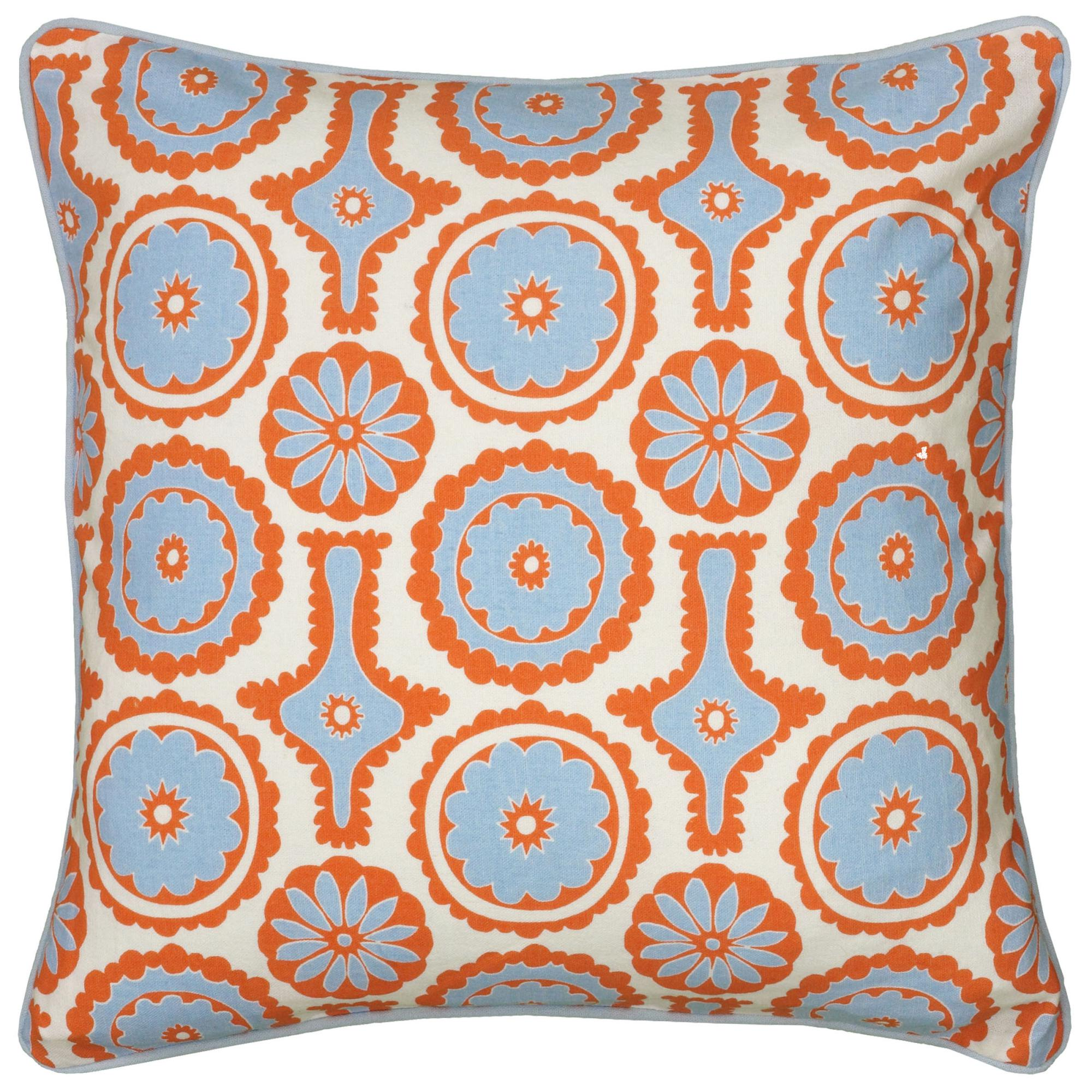 "Rizzy Home Decorative Poly Filled Throw Pillow Geometric 18""X18"" Light Blue"