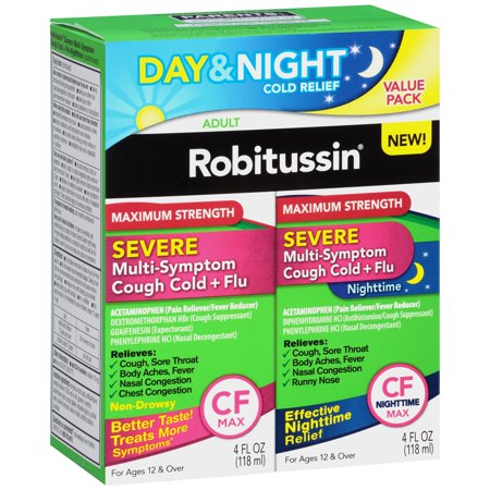 Robitussin Severe Multi-Symptom Cough Cold and Flu Day/Night Value Pack, 4 fl oz, 2 (Home Remedies For Cough Cold And Sneezing)