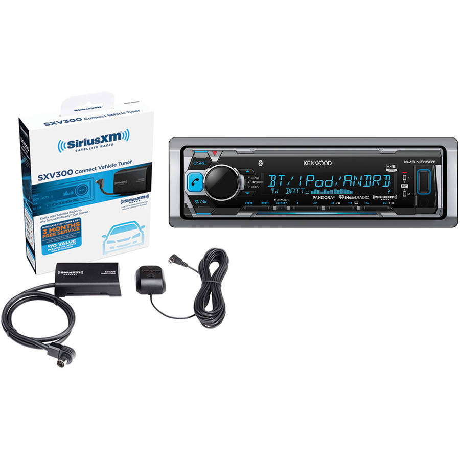 Kenwood KMR-M315BT Marine Single-DIN In-Dash CD Receiver and SiriusXM SXV300V1 SiriusConnect Vehicle Tuner