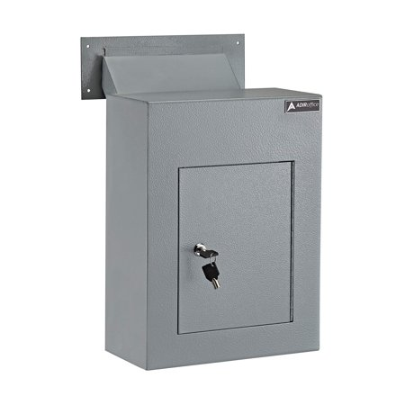 High Supply Through The Wall Drop Box Safe (Black/Grey/White) - Durable Thick Steel w/Adjustable Chute - Mail Vault for Home Office Hotel Apartment (Grey) Grey