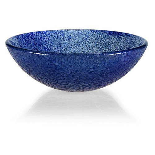Xylem GV104BLM Round Glass Vessel Sink - Blue Bits