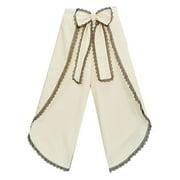 Little Girls Ivory Black Scalloped Trim Bow Accent Wide Leg Pants 12M-6