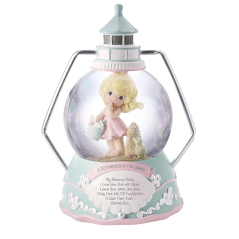 Precious Moments Footprints In The Sand Resin Snow Globe Musical Girl 152104 by Precious Moments