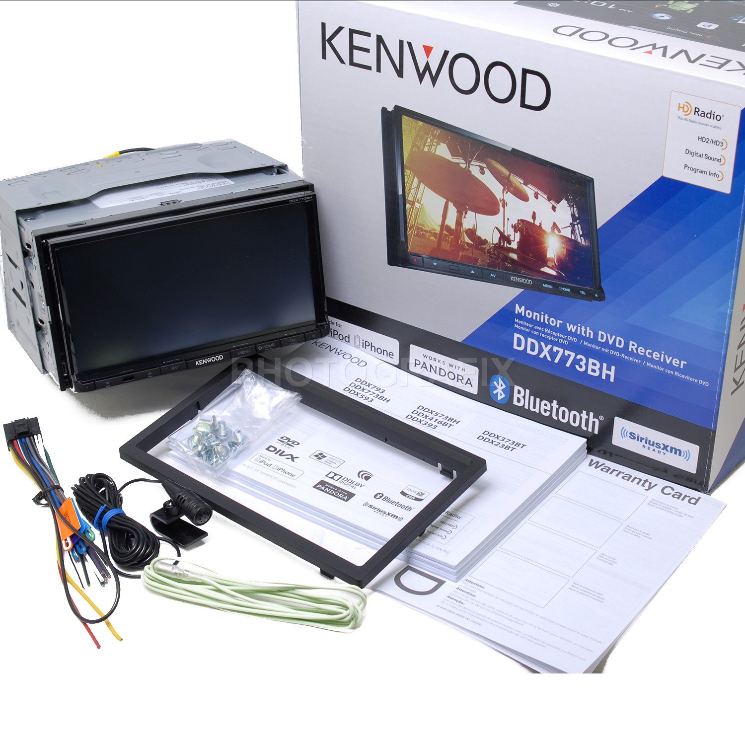 "Kenwood DDX773BH 6.95"" Double-DIN In-Dash DVD Receiver with Bluetooth, HD Radio and SiriusXM Ready by Kenwood"