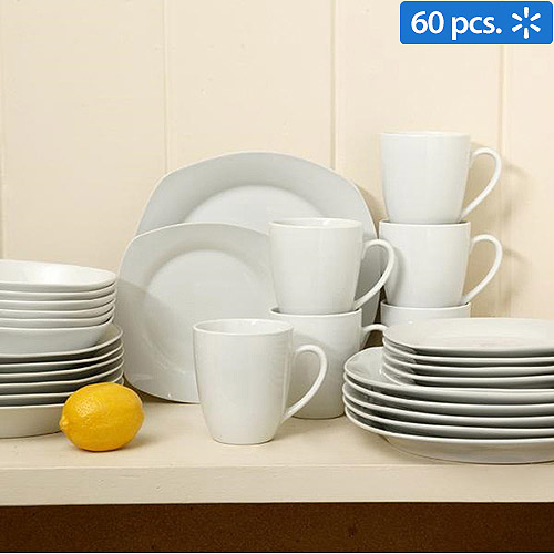 Gibson Home Liberty Hill Porcelain 30-Piece Square Dinnerware Set