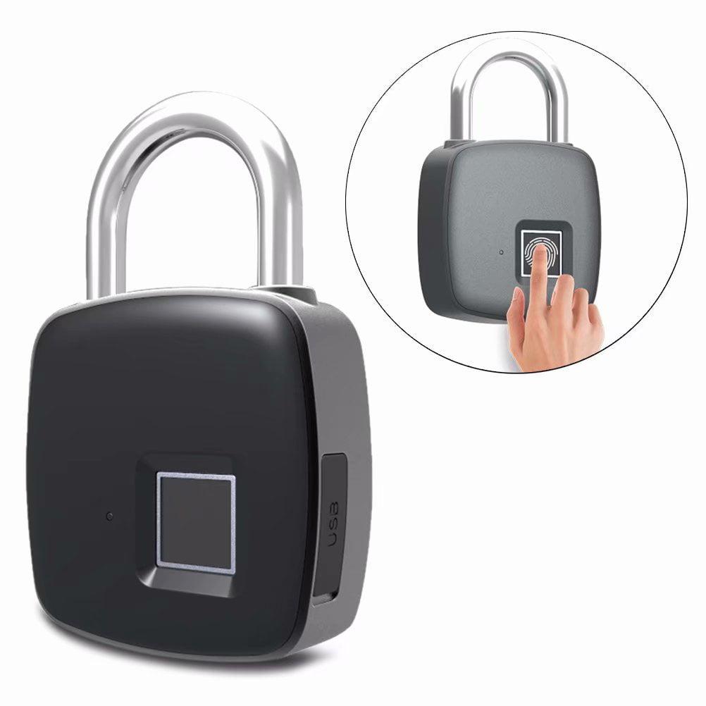 Portable Smart Fingerprint Lock,1 Second Unlock Smart Biometric Padlock,Security No Password,Waterproof and Anti-theft Padlock for Golf bag,Suitcase,Gym Locker Door and More
