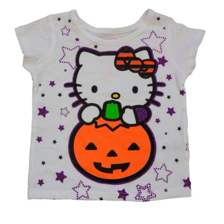 Infant & Toddler Girls White Hello Kitty Halloween Shirt Pumpkin Cat T-Shirt