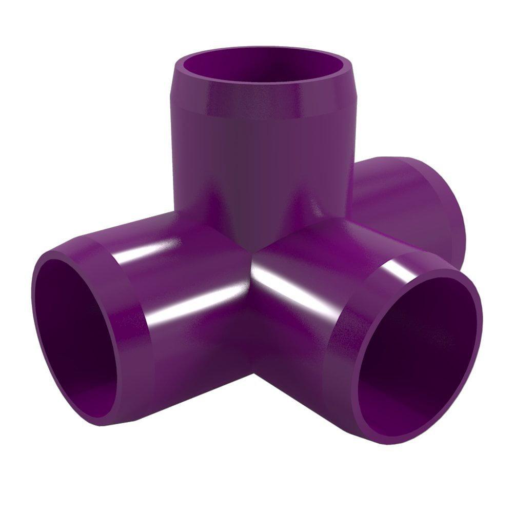 """FORMUFIT F0344WT-PU-8 4-Way Tee PVC Fitting, Furniture Grade, 3/4"""" Size, Purple , 8-Pack"""