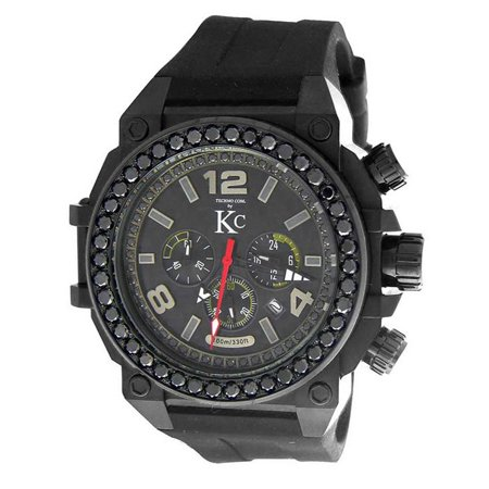 - KC  Men's Stainless Steel Chronograph Watch Carbon Fiber Dial 4ct Genuine Black Diamond Rubber Strap