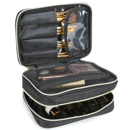 Lifewit Travel Makeup Case Cosmetic Organizer 2-Decker Storage Bag Black (Travel Makeup)