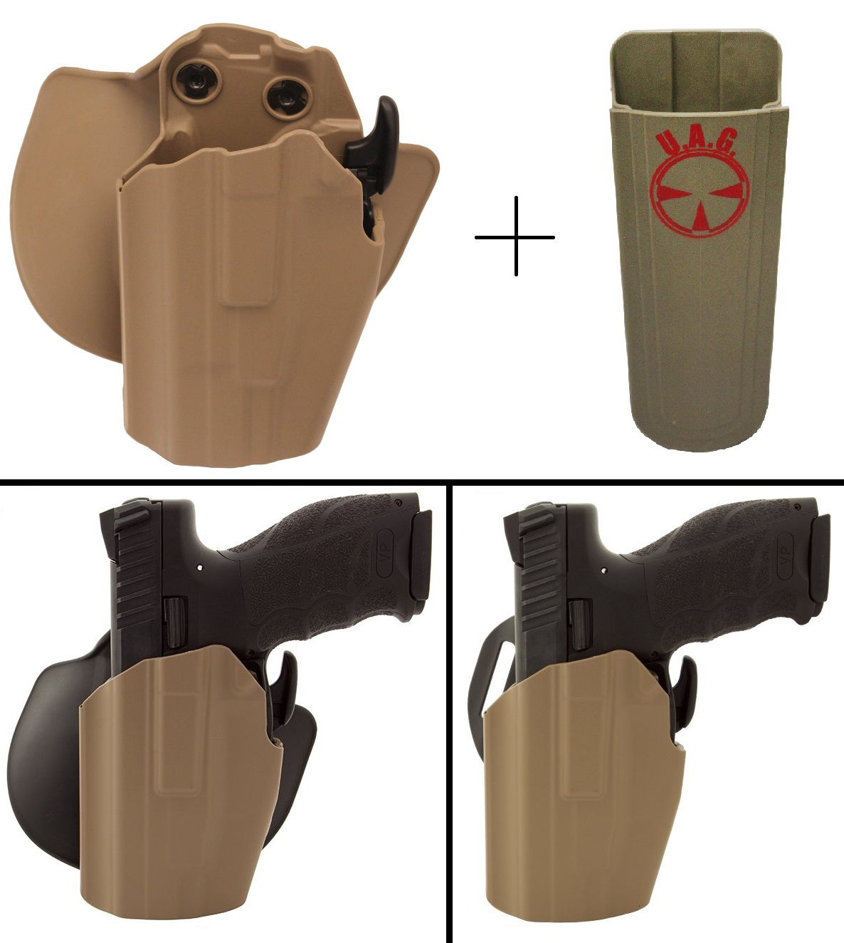 Safariland Holster HECKLER & KOCH H&K P2000SK 9MM & .40 Pro-Fit 578-183-552 7TS GLS Sub-Compact Frame Multi-Fit Paddle & Belt Left Hand, Flat Dark Earth + Ultimate Arms Gear 9mm/.40/.45 Mag Pouch