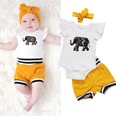 Newborn Baby Girls Boys Clothes Tops Elephant Romper Shorts Bottoms Outfits Set (Girl Boy Girl Boutique)
