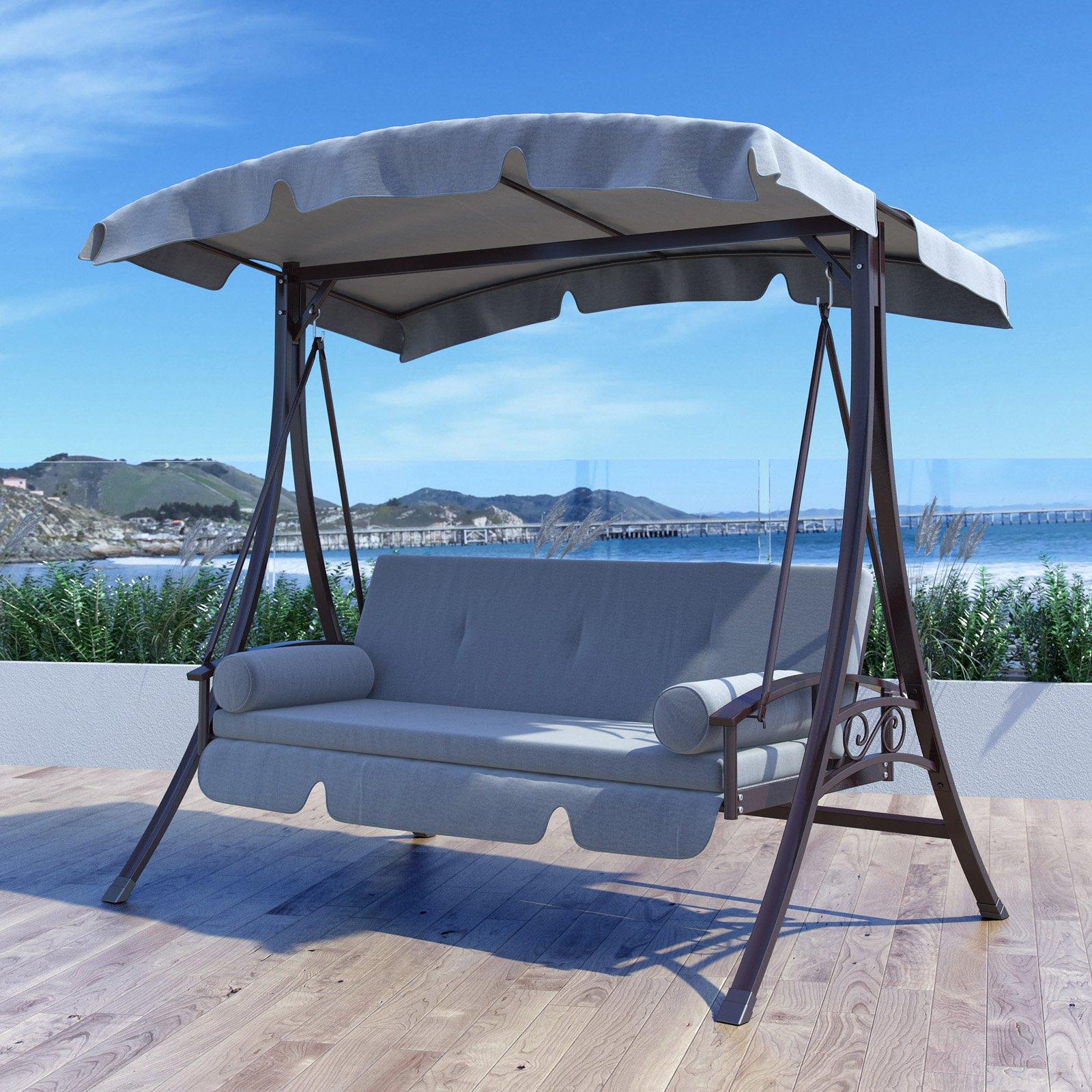 CorLiving Nantucket Steel Patio Swing Bed