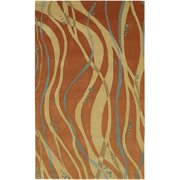Hand-tufted Orange Contemporary Spirit Wool Abstract Area Rug - 8' x 8'