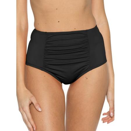 BCA Women's Color Splash High Waist Swimsuit Bikini Bottom Splash Nylon Bikini